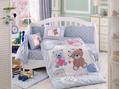 """Комплект постельного белья с одеялом детское поплин """"PONPON"""", голубое"""