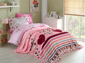 """Набор комплект постельного белья и покрывало велсофт """"BELLA"""", лиловый"""