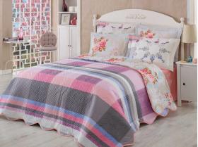 """Комплект постельного белья с стеганным покрывалом """"ALANZA"""" Лиловое"""