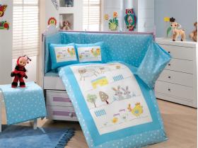 """Комплект постельного белья с одеялом детское поплин """"ZOO"""", голубое"""