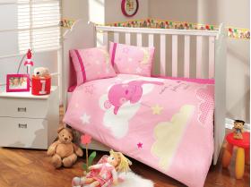 """Комплект постельного белья с одеялом детское поплин """"LITTLE SHEEP"""", розовый"""