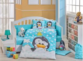 Комплект постельного белья с одеялом детское поплин ''PENGUIN'', синий