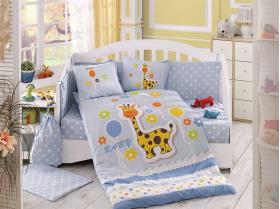 """Комплект постельного белья с одеялом детское поплин """"PUFFY"""", голубое"""