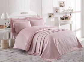 """Комплект постельного белья с покрывалом """"ELITE SET"""", пудра NEW"""