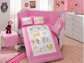 """Комплект постельного белья с одеялом детское поплин """"ZOO"""", розовый, 100% Хлопок"""