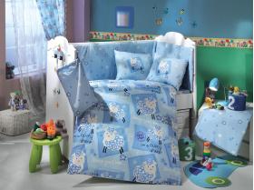 """Комплект постельного белья детское поплин """"LITTLE SHEEP"""", синий"""