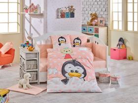 Комплект постельного белья с одеялом детское поплин ''PENGUIN'', персиковый