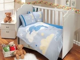 """Комплект постельного белья с одеялом детское поплин """"SLEEPER"""", голубой"""