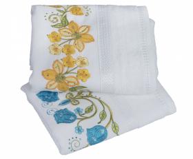 """Набор махровых полотенец с вышивкой """"ZERAFET"""", белый"""