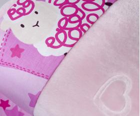 """Комплект постельного белья детское поплин с покрывалом """"LITTLE SHEEP"""", розовый"""