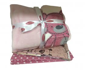 """Комплект постельного белья детское поплин с покрывалом """"TOMBIK"""", розовый"""