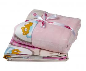 """Комплект постельного белья детское поплин с покрывалом """"BAMBAM"""", розовый"""
