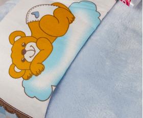 """Комплект постельного белья детское поплин с покрывалом """"BAMBAM"""", голубое"""