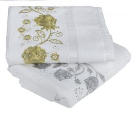 """Набор махровых полотенец со стразами с вышивкой  """"ZUMRUT"""", белый"""