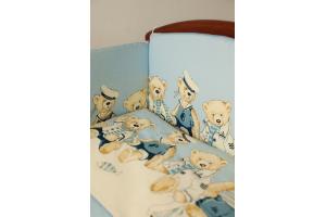 """Комплект белья для новорожденных в кроватку """"Морячки"""" 3 предмета"""