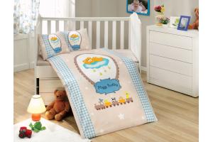 """Комплект постельного белья с одеялом детское поплин """"BAMBAM"""", голубое"""