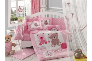 """Комплект постельного белья с одеялом детское поплин """"PONPON"""", розовый"""
