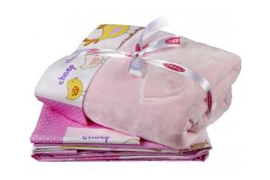 """Комплект постельного белья детское поплин с покрывалом """"ZOO"""", розовый"""