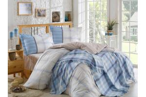 Комплект постельного белья поплин с покрывалом CARMELA, бежевый