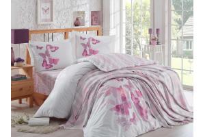 Комплект постельного белья поплин с покрывалом SUENO, лиловый