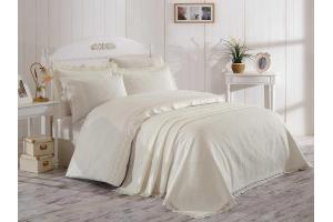"""Комплект постельного белья сатин с покрывалом """"ELITE SET"""", кремовый NEW"""