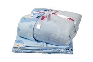 """Комплект постельного белья детское поплин с покрывалом """"LITTLE SHEEP"""", голубое"""