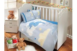 """Комплект постельного белья с одеялом детское поплин """"LITTLE SHEEP"""", голубое"""