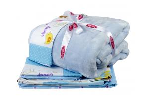 """Комплект постельного белья детское поплин с покрывалом """"ZOO"""", голубое"""