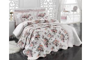 """Комплект постельного белья поплин с стеганным покрывалом """"SUSANA"""", розовое"""