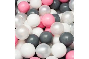 Сет из 200 шаров для детского сухого бассейна серо-розовый