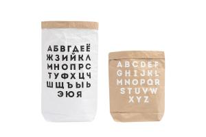 """Эко-мешок для игрушек из крафт бумаги """"Alphabet"""""""